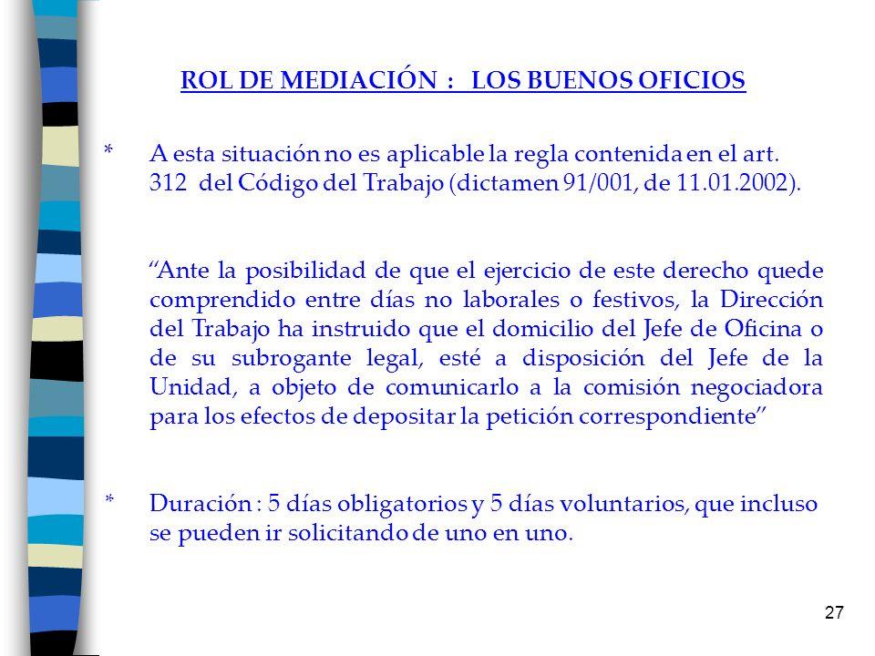 ROL DE MEDIACIÓN : LOS BUENOS OFICIOS