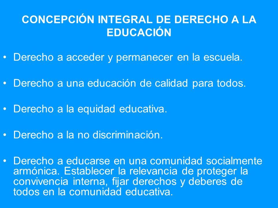 CONCEPCIÓN INTEGRAL DE DERECHO A LA EDUCACIÓN