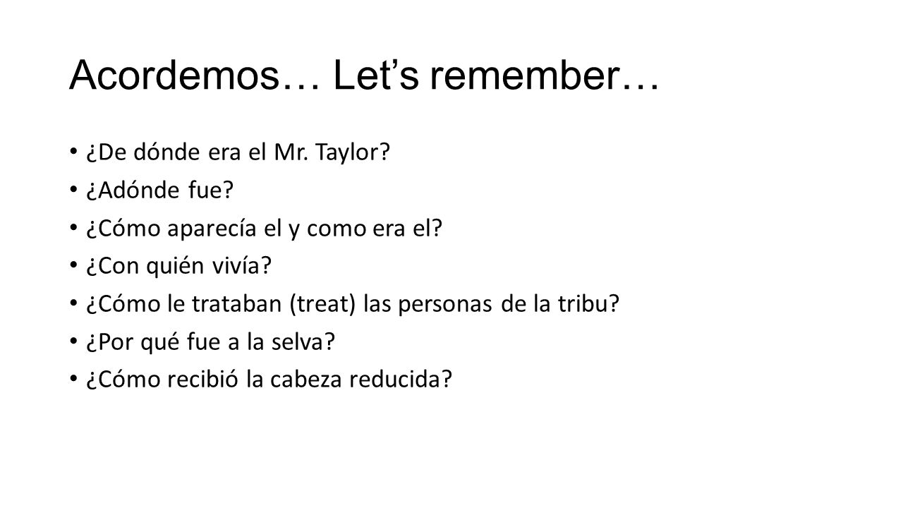 Acordemos… Let's remember…