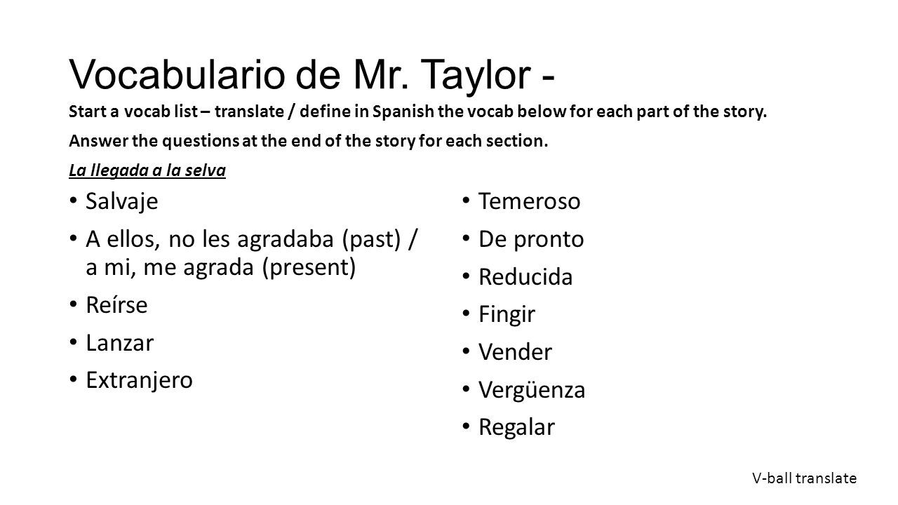 Vocabulario de Mr. Taylor -