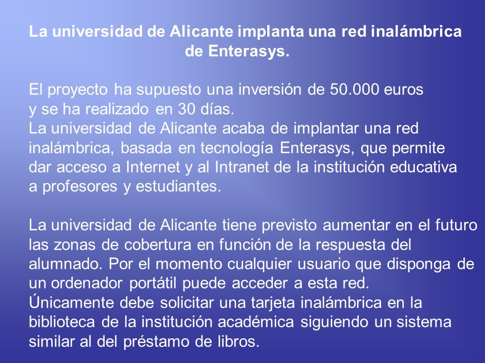 La universidad de Alicante implanta una red inalámbrica