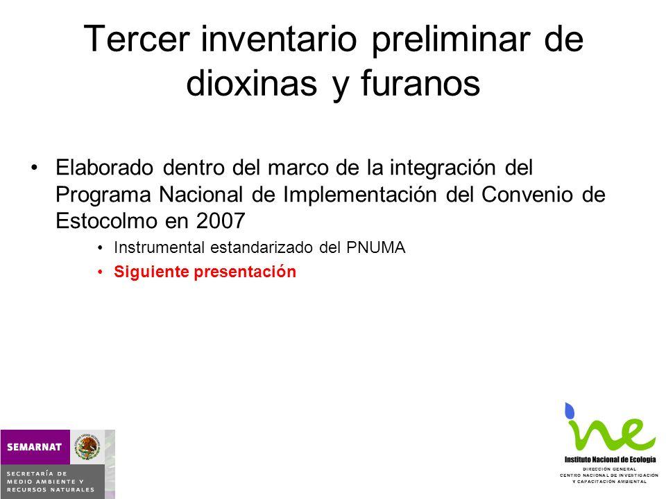Tercer inventario preliminar de dioxinas y furanos