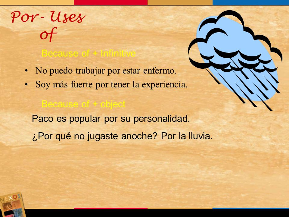 Por- Uses of Because of + Infinitive
