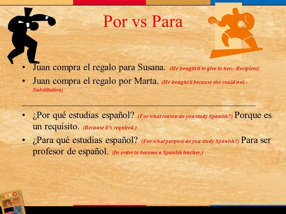 Por vs ParaJuan compra el regalo para Susana. (He bought it to give to her.- Recipient)