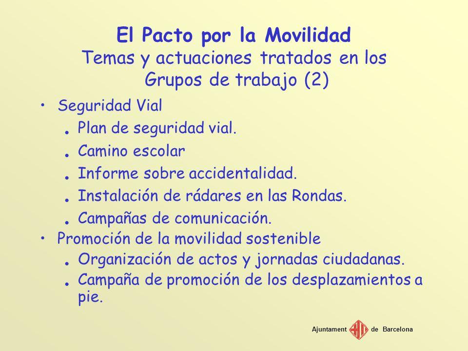 El Pacto por la Movilidad Temas y actuaciones tratados en los Grupos de trabajo (2)