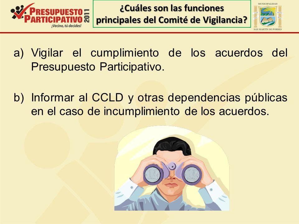 ¿Cuáles son las funciones principales del Comité de Vigilancia
