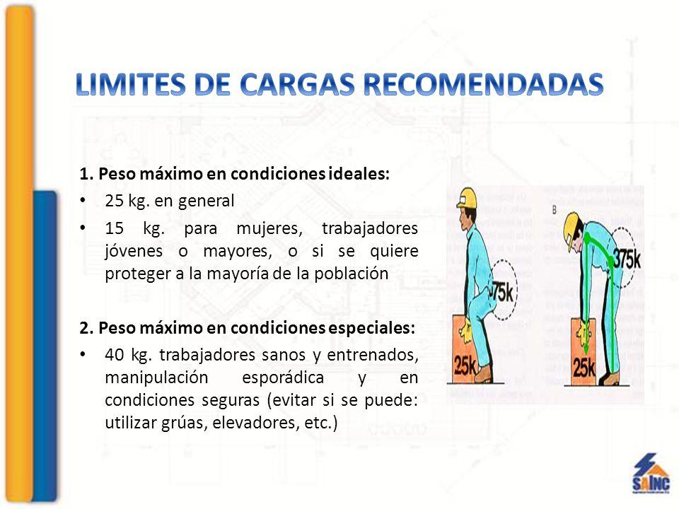 LIMITES DE CARGAS RECOMENDADAS