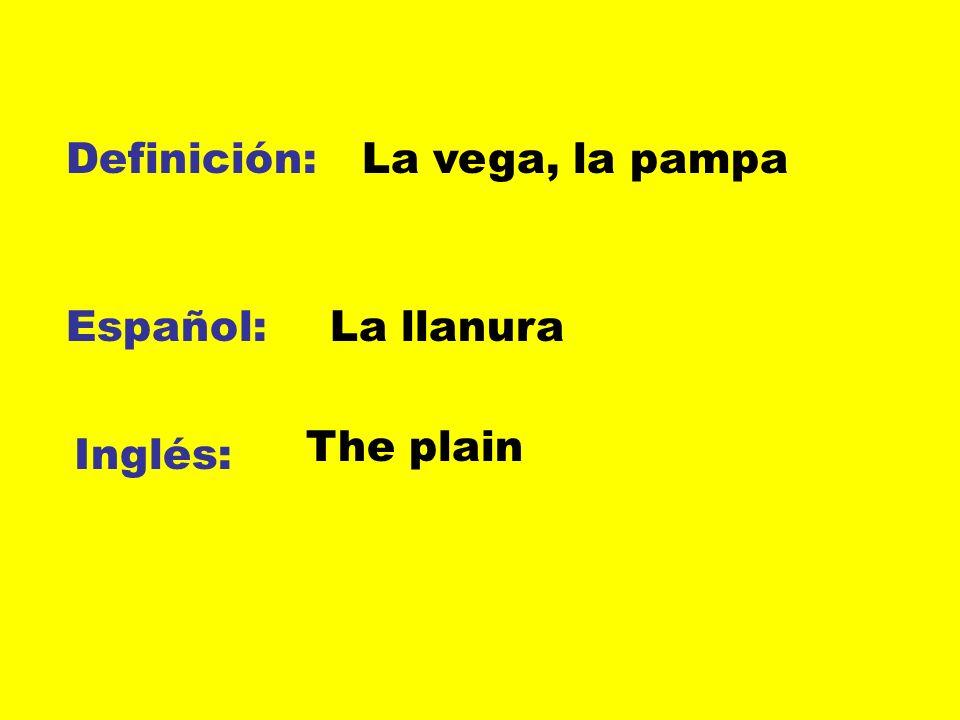 Definición: La vega, la pampa Español: La llanura The plain Inglés: