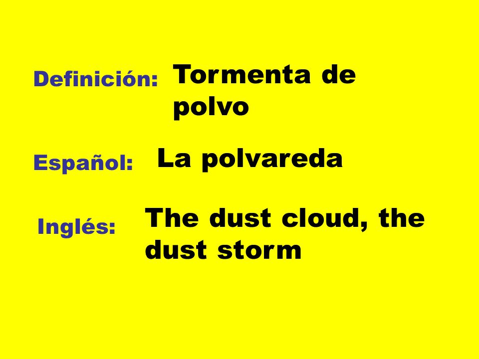 The dust cloud, the dust storm