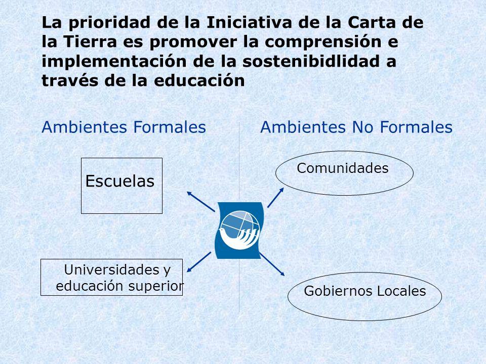 La prioridad de la Iniciativa de la Carta de la Tierra es promover la comprensión e implementación de la sostenibidlidad a través de la educación