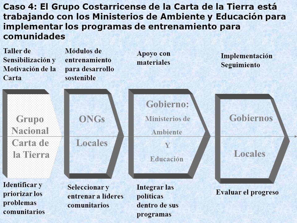 Grupo Nacional Carta de la Tierra ONGs Locales Gobierno: Gobiernos