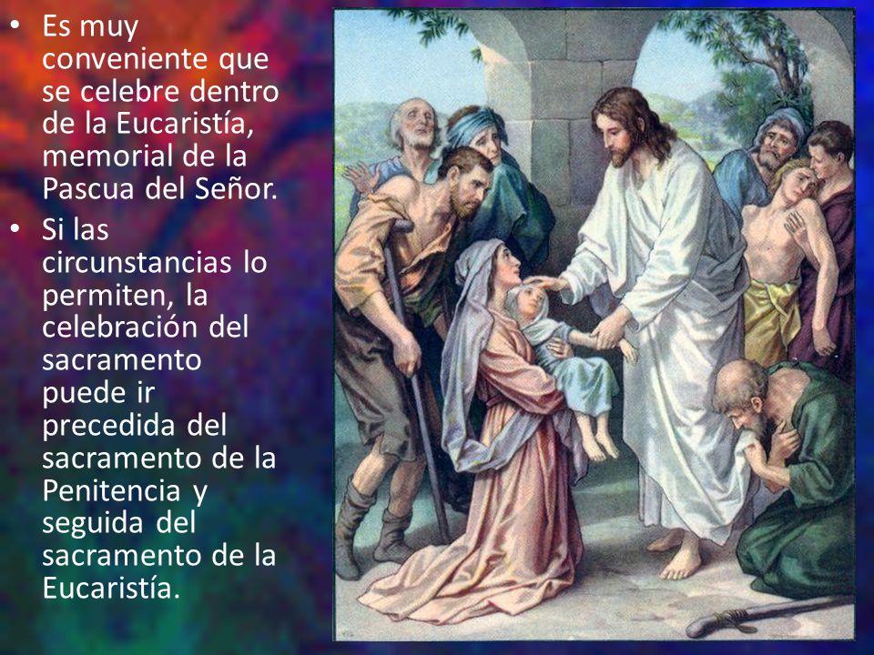 Es muy conveniente que se celebre dentro de la Eucaristía, memorial de la Pascua del Señor.