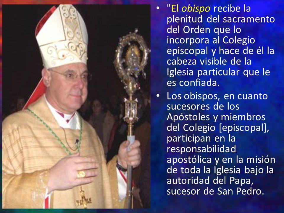 El obispo recibe la plenitud del sacramento del Orden que lo incorpora al Colegio episcopal y hace de él la cabeza visible de la Iglesia particular que le es confiada.