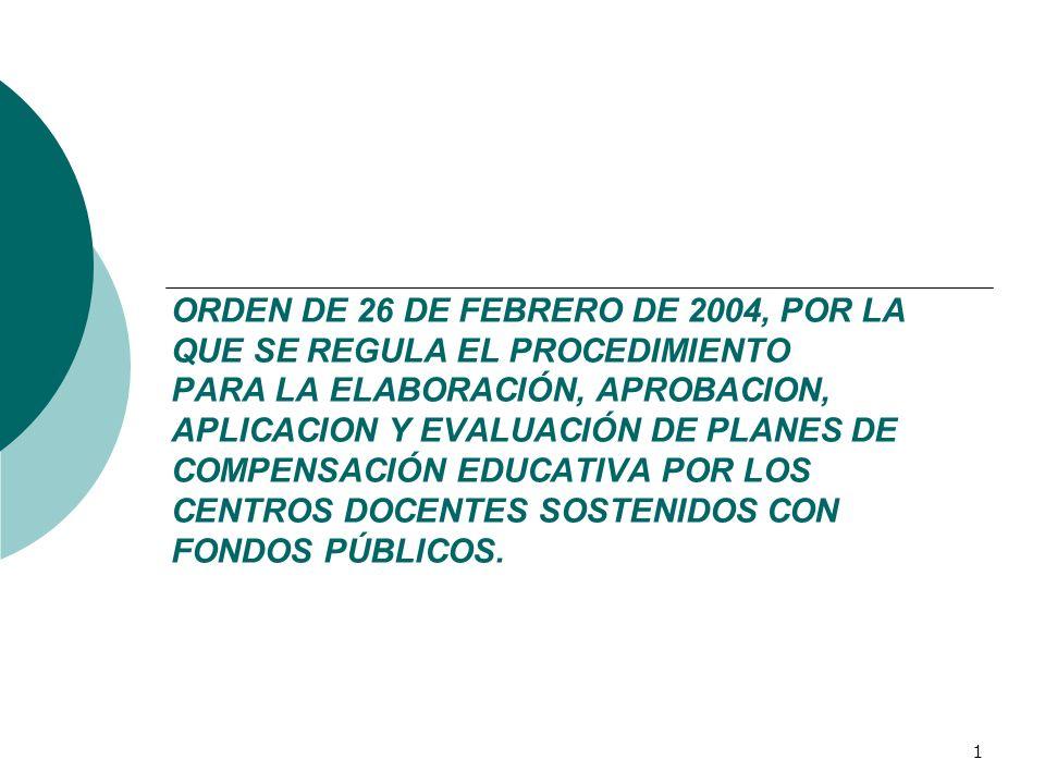 ORDEN DE 26 DE FEBRERO DE 2004, POR LA QUE SE REGULA EL PROCEDIMIENTO PARA LA ELABORACIÓN, APROBACION, APLICACION Y EVALUACIÓN DE PLANES DE COMPENSACIÓN EDUCATIVA POR LOS CENTROS DOCENTES SOSTENIDOS CON FONDOS PÚBLICOS.