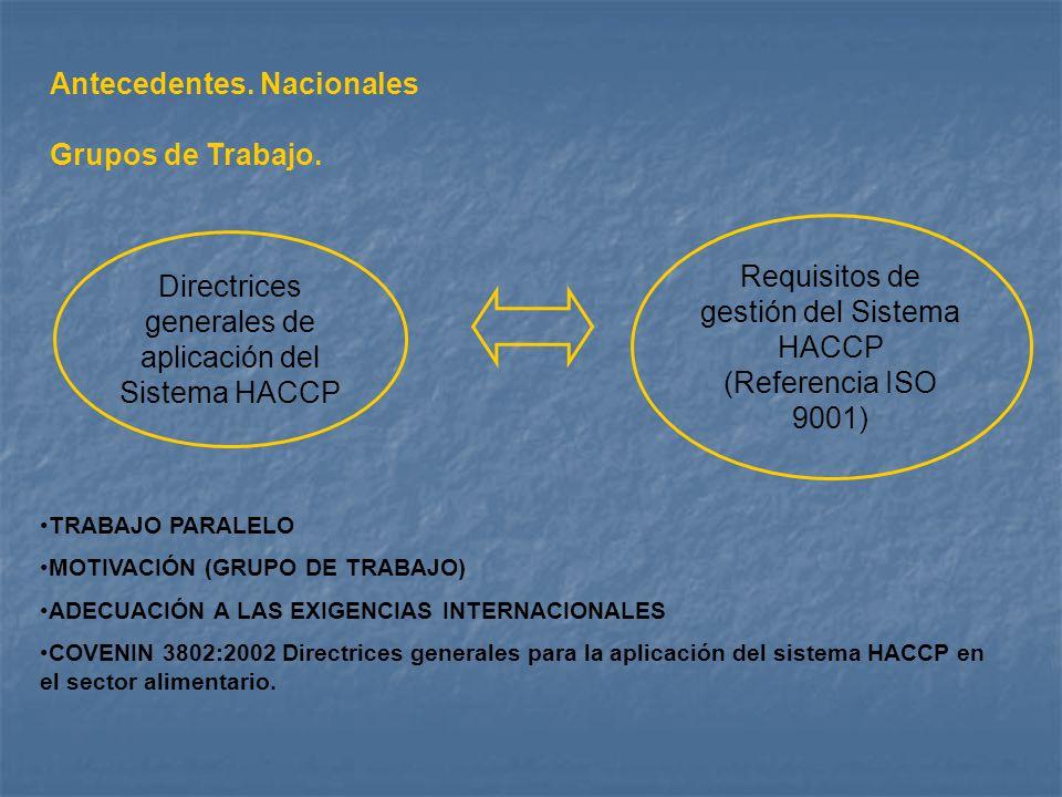 Antecedentes. Nacionales Grupos de Trabajo.