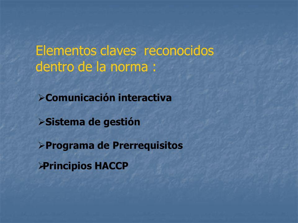 Elementos claves reconocidos dentro de la norma :
