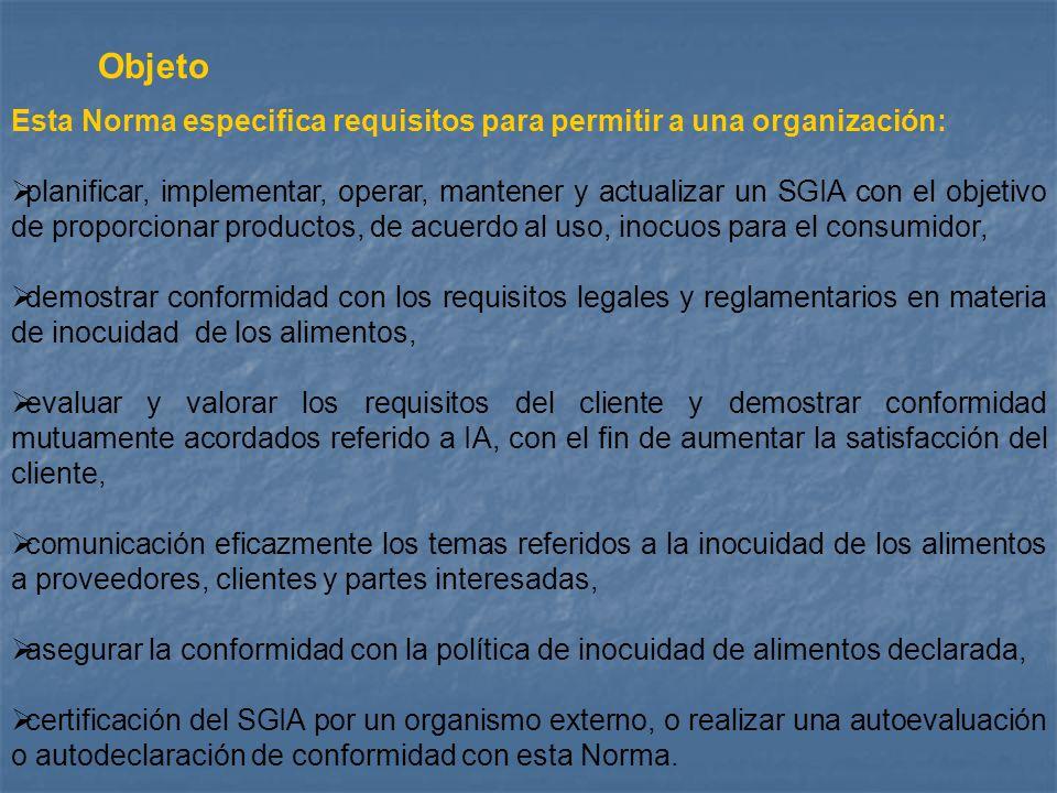 Objeto Esta Norma especifica requisitos para permitir a una organización: