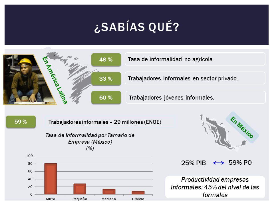 Productividad empresas informales: 45% del nivel de las formales
