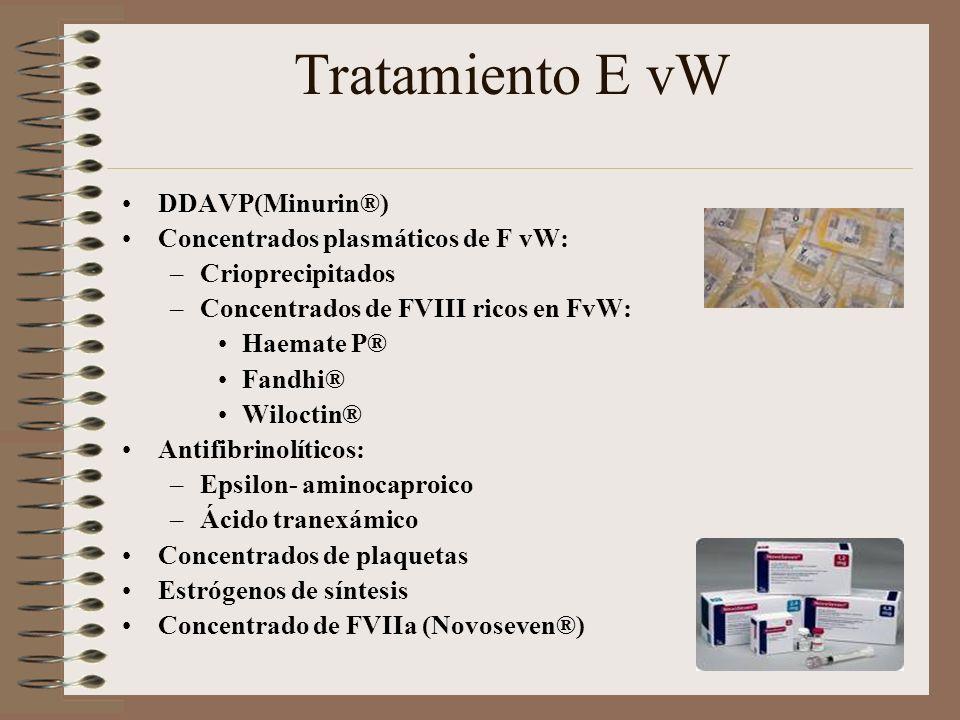 Tratamiento E vW DDAVP(Minurin®) Concentrados plasmáticos de F vW: