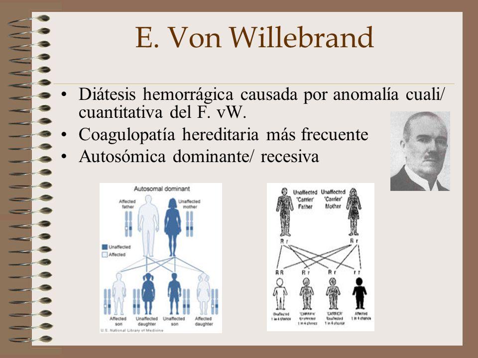 E. Von Willebrand Diátesis hemorrágica causada por anomalía cuali/ cuantitativa del F. vW. Coagulopatía hereditaria más frecuente.