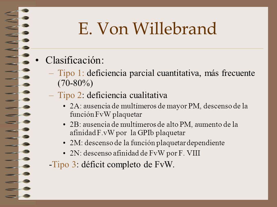 E. Von Willebrand Clasificación: