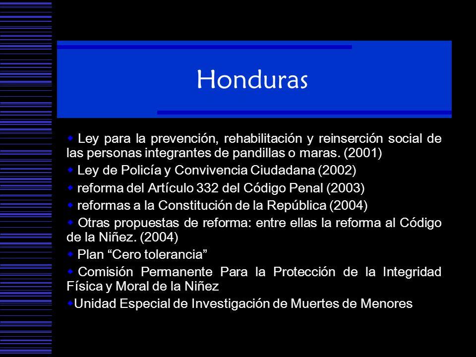 Honduras Ley para la prevención, rehabilitación y reinserción social de las personas integrantes de pandillas o maras. (2001)