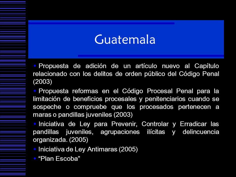 Guatemala Propuesta de adición de un artículo nuevo al Capítulo relacionado con los delitos de orden público del Código Penal (2003)