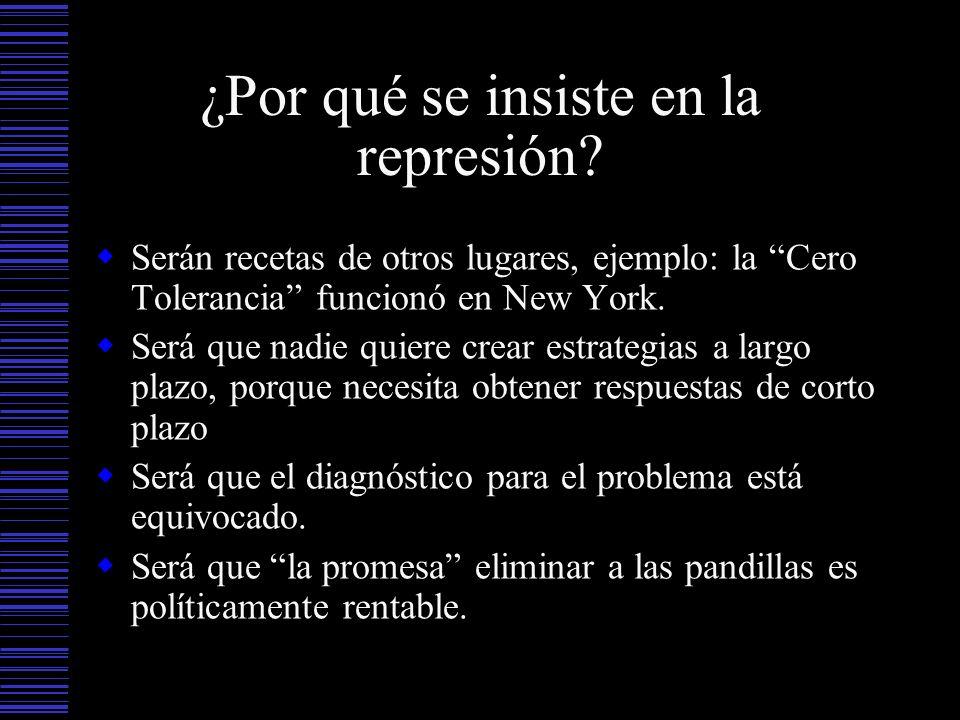 ¿Por qué se insiste en la represión