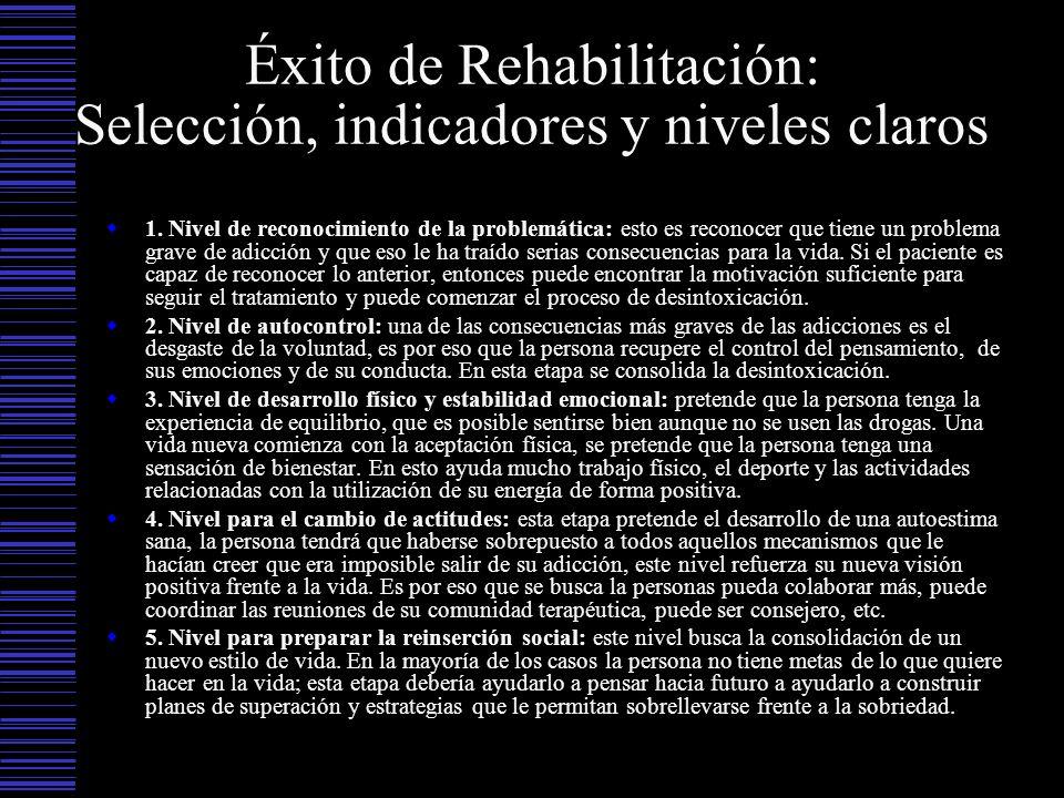 Éxito de Rehabilitación: Selección, indicadores y niveles claros