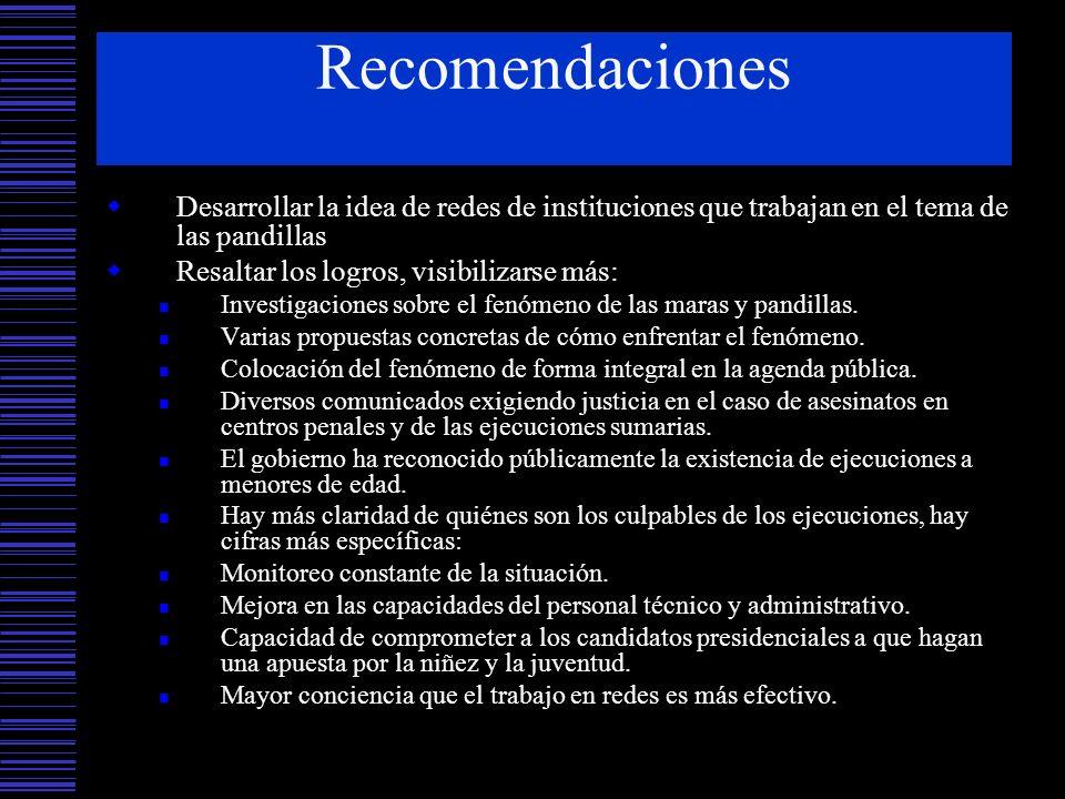RecomendacionesDesarrollar la idea de redes de instituciones que trabajan en el tema de las pandillas.