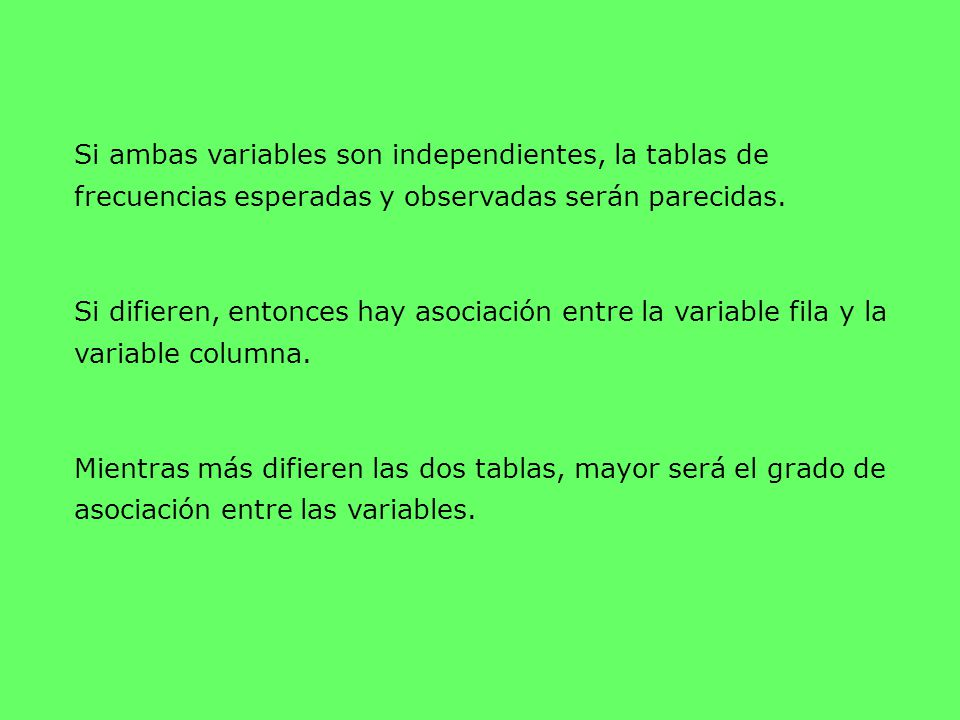 Si ambas variables son independientes, la tablas de frecuencias esperadas y observadas serán parecidas.