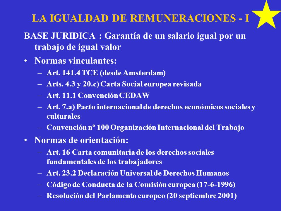 LA IGUALDAD DE REMUNERACIONES - I