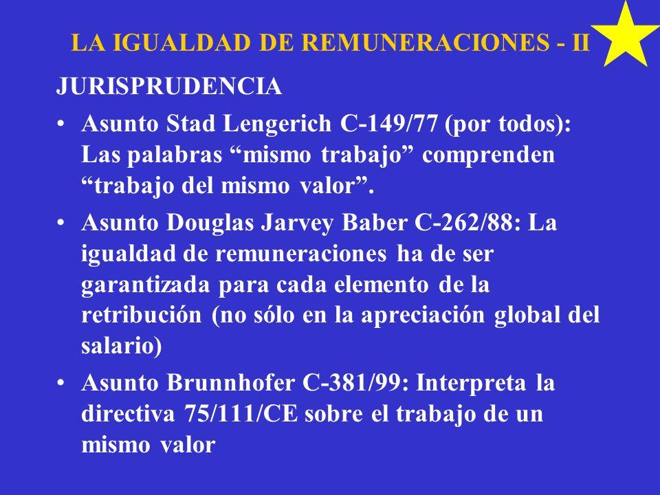 LA IGUALDAD DE REMUNERACIONES - II