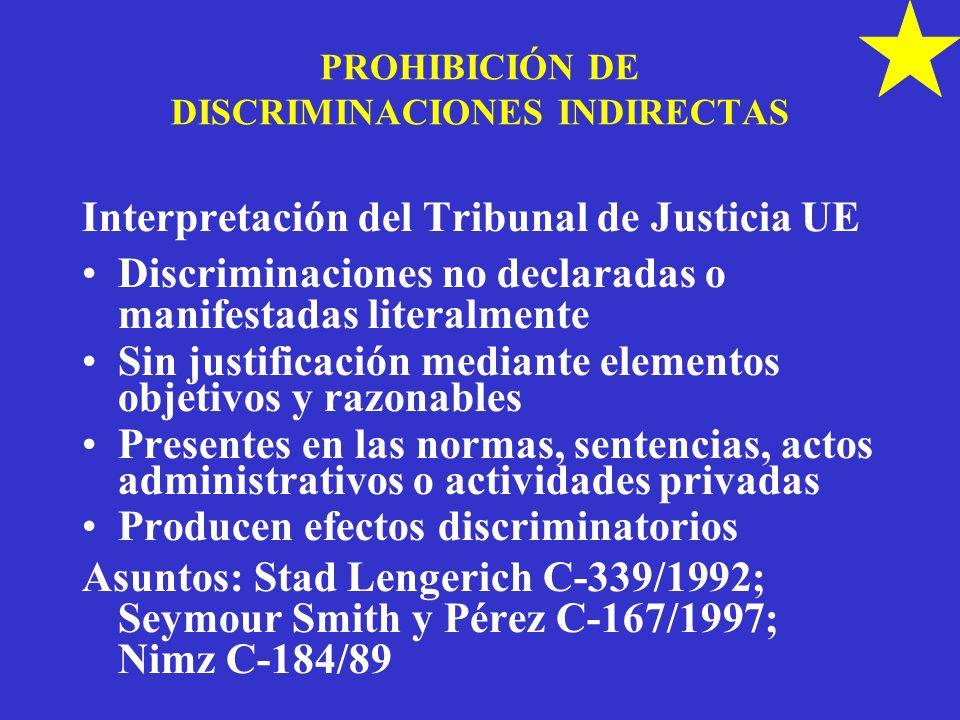 PROHIBICIÓN DE DISCRIMINACIONES INDIRECTAS