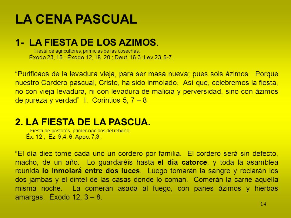 LA CENA PASCUAL 1- LA FIESTA DE LOS AZIMOS. 2. LA FIESTA DE LA PASCUA.