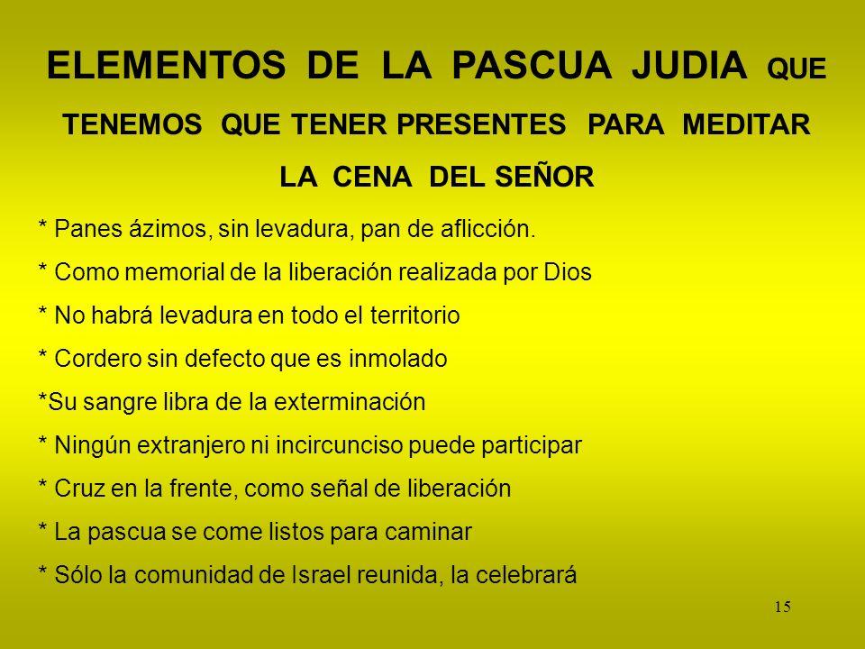 ELEMENTOS DE LA PASCUA JUDIA QUE TENEMOS QUE TENER PRESENTES PARA MEDITAR LA CENA DEL SEÑOR