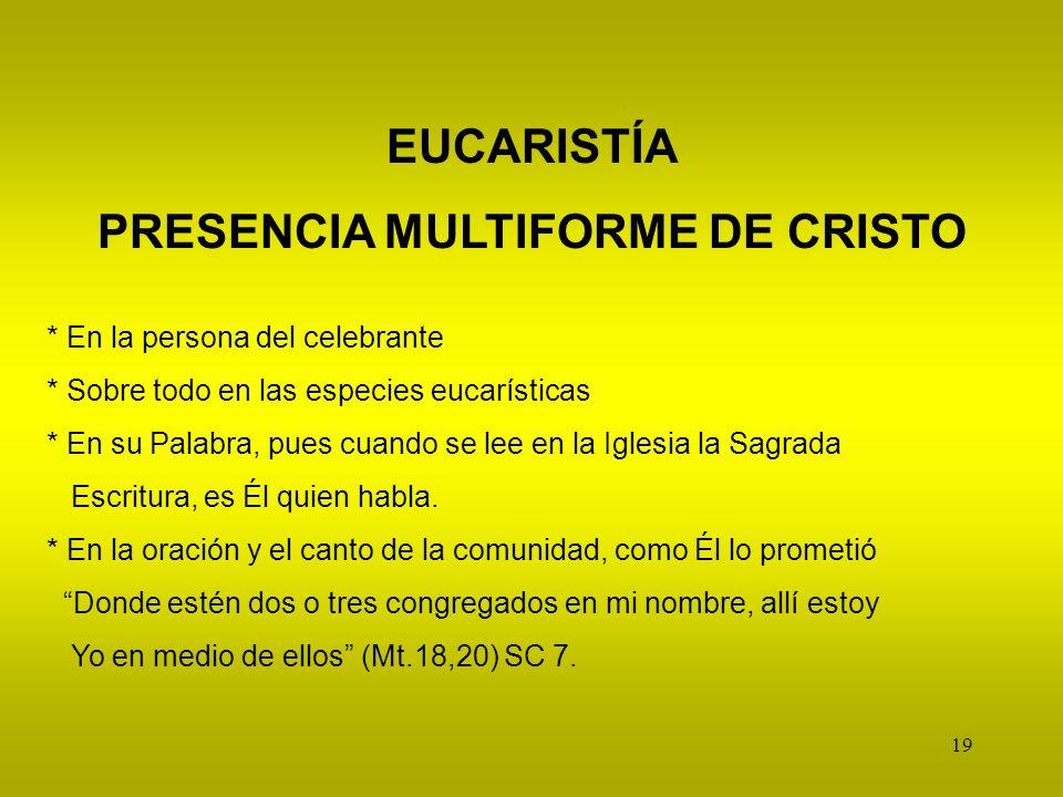 PRESENCIA MULTIFORME DE CRISTO