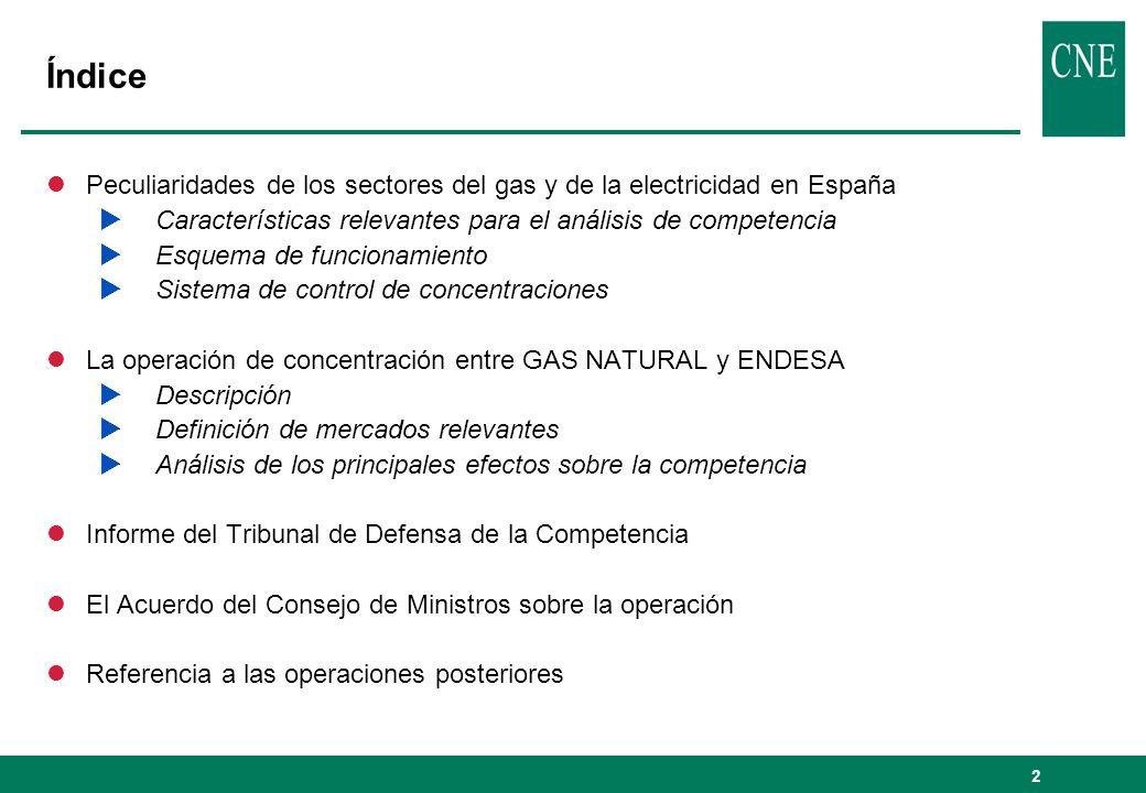 Índice Peculiaridades de los sectores del gas y de la electricidad en España. Características relevantes para el análisis de competencia.