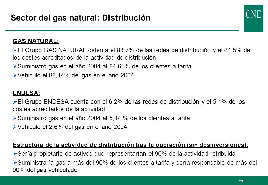 Sector del gas natural: Distribución
