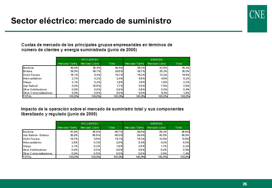 Sector eléctrico: mercado de suministro