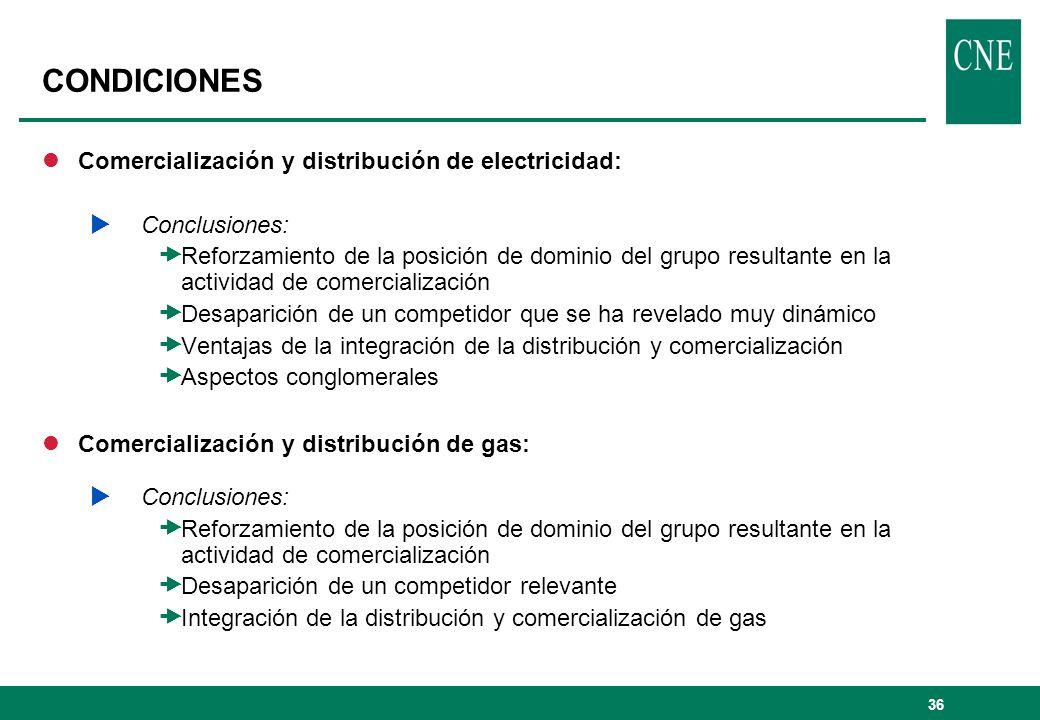 CONDICIONES Comercialización y distribución de electricidad: