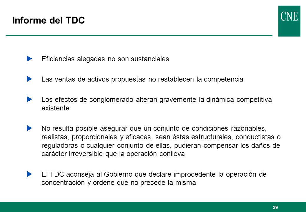 Informe del TDC Eficiencias alegadas no son sustanciales