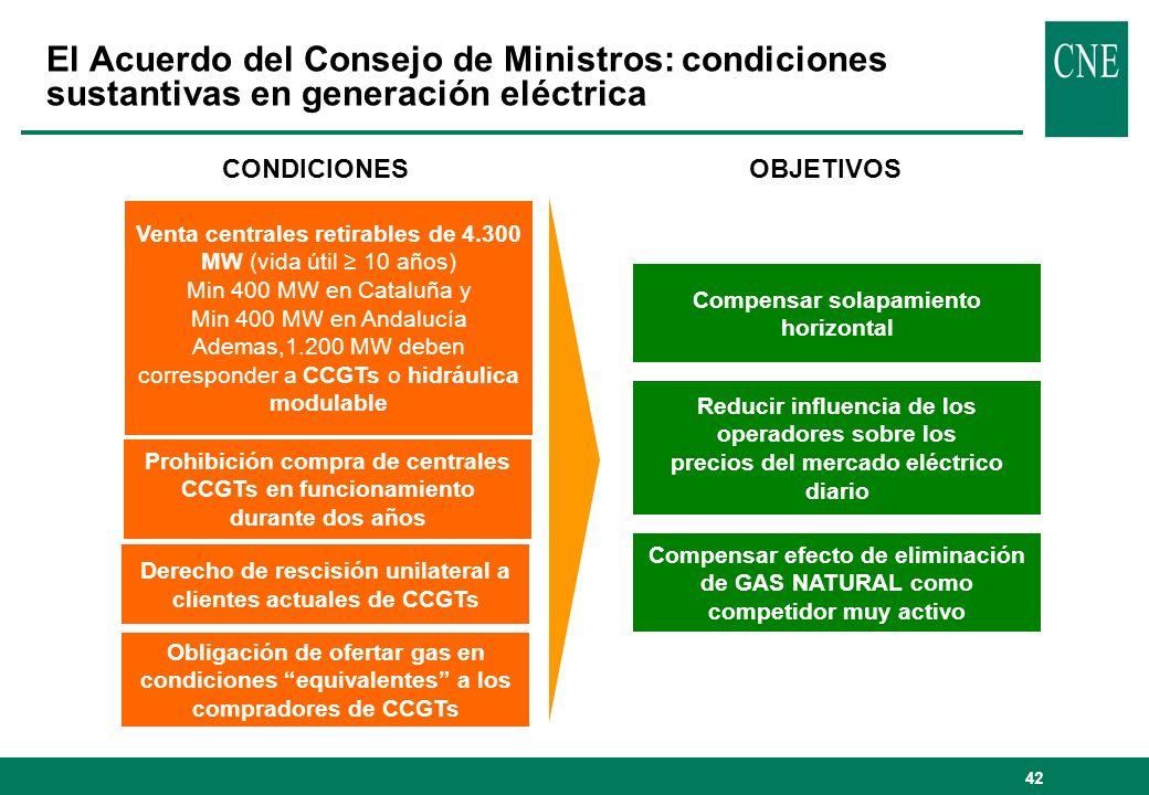 El Acuerdo del Consejo de Ministros: condiciones sustantivas en generación eléctrica