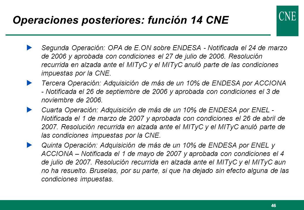 Operaciones posteriores: función 14 CNE