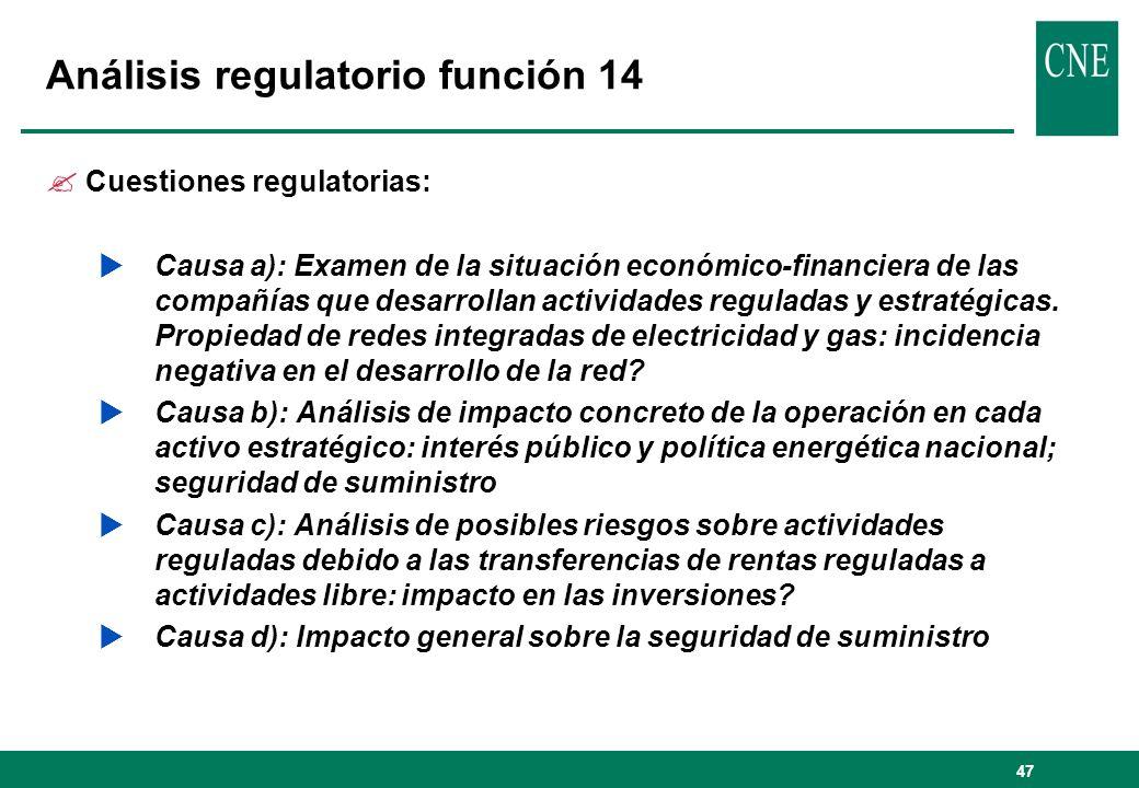 Análisis regulatorio función 14