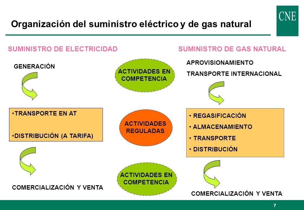 Organización del suministro eléctrico y de gas natural