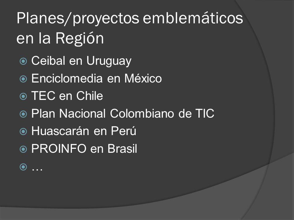 Planes/proyectos emblemáticos en la Región