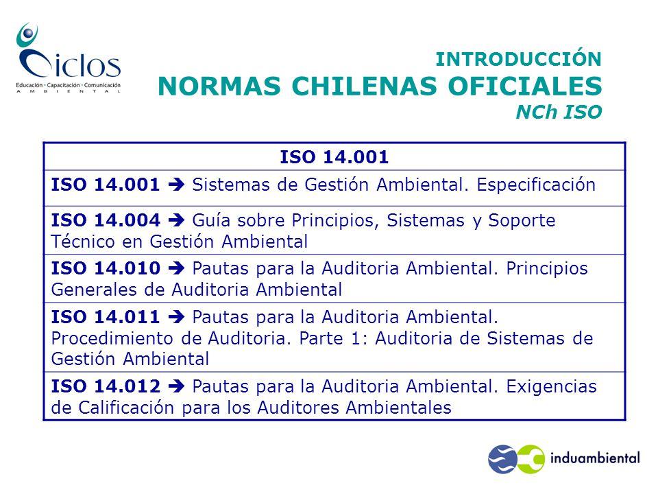 INTRODUCCIÓN NORMAS CHILENAS OFICIALES NCh ISO