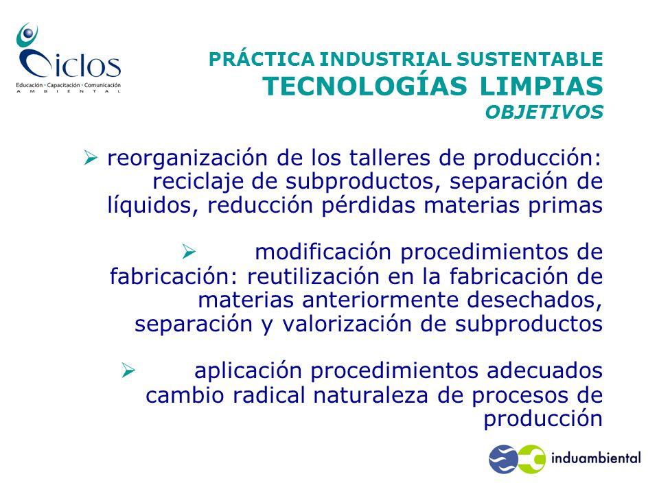 PRÁCTICA INDUSTRIAL SUSTENTABLE TECNOLOGÍAS LIMPIAS OBJETIVOS