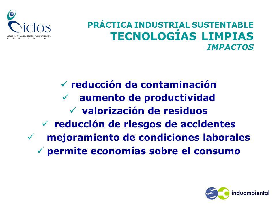 PRÁCTICA INDUSTRIAL SUSTENTABLE TECNOLOGÍAS LIMPIAS IMPACTOS